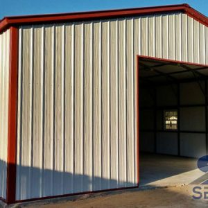 All-vertical-steel-building-pewter-gray-with-red